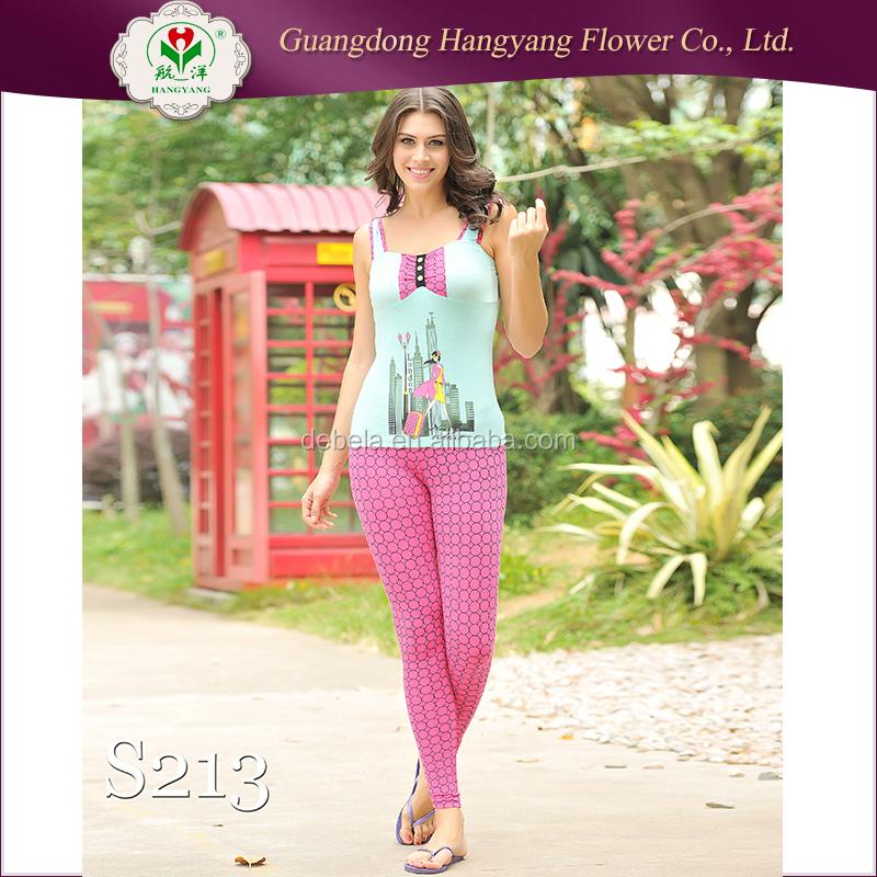 2017 최고 판매 높은 품질 95% 면 5% 스판덱스 밤 입어요 파자마/레이디 독특한 잠옷