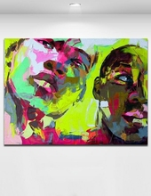 Abstract portrait oil painting two men Knife painting pop art on canvas framed