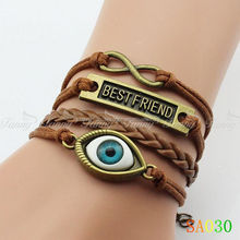 SA030 Fashion DIY Leather Cord Vintage Silver Alloy Metal infinity antique bronze evil eye charms bracelet