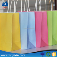 Promotion custom recyclable kraft paper bag with handle