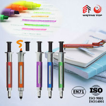 superb novelty and plastic sryinge ball pen print logo on barrel for hospital promotion