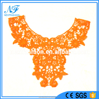 Fashion orange polyester milk wire crochet embroidery lace neck trim collar for ladies top dress