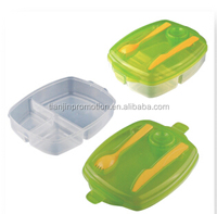 Hot selling plastic office lunch box with cutlery,kids plastic lunch box