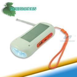 Portalble Solar Flashlight FM Radio with Charging Function