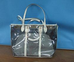 Wholesale fashion designer lady handbag , pu bag , pvc bags with faux crocodile leather trim