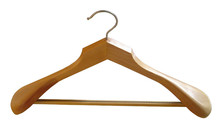 Our HEAD contoured wooden suit hangers come with a non-slip strip insert to prevent pants from falling.