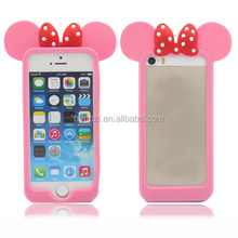 Free New 3D Pink mouse ears Fashion silicon frame bumper for iPhone 5 5S 5G rubber cute lovely cartoon case phone cover