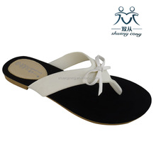 fashion shoes suede sole slippers flip flops with bow for women