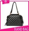 2015 new black flap zipper pouch bag pure leather lady's handbags studded handbag name brand women fashion handbags