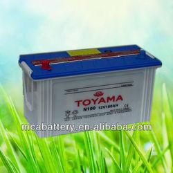 12V100AH Top Quality dry charged Car Battery N100 JIS standard auto battery