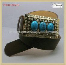 tt9144 occidental de cuero piel de vaca con cinturones de diamantes de imitación de piedra