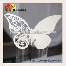 various colors and designs hot sale wedding decoration supplier customised laser cut white butterfly place card