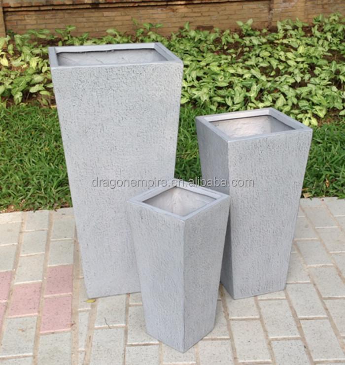 ext rieure grand carr textur en fiber de verre ciment jardin pots de fleurs gros pots fleurs. Black Bedroom Furniture Sets. Home Design Ideas