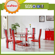 New design modern stainless steel base Malaysia dining table and chairs set designs