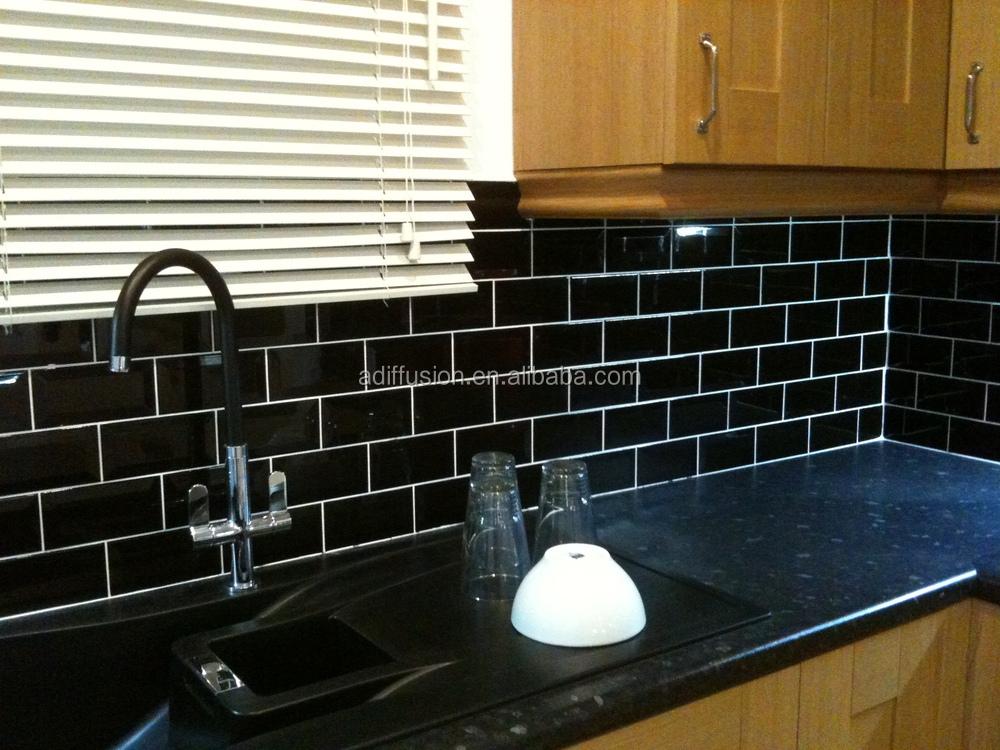 Matte Black Subway Tiles 75x15cm3x6 Inch Buy Black And White