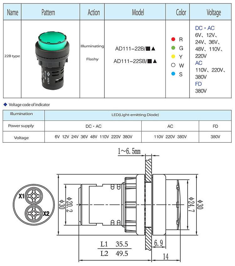 22mm Green round 24v ac dc led signal lamp indicator light