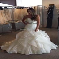 Sweetheart Crystal Beads Belt Ruffles Organza Sexy Mermaid Wedding Dress Patterns ME070