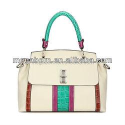 Contrast Color Crocodile Decroration Latest Lady Fashion Designer Bag
