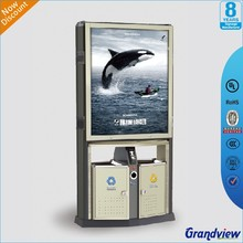 garbage can ashtray bin with Environmental scrolling advertisng display light box