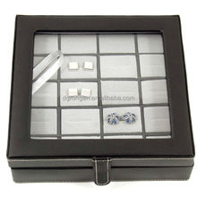 Black leather 20 cufflinks box / case with glass top and snap closure