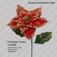 velvet Christmas flower poinsettia decorative flower poinsettia artificial flowers