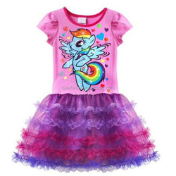 baby girl party dress children frocks designs pink my little pony QGD-1653