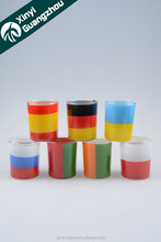 small glass cup for promotion/ liqueur galss/glass candle holder with funny print