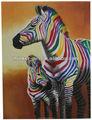 Amar a dos cebra colorida pintura al óleo para el hogar decoración de la pared