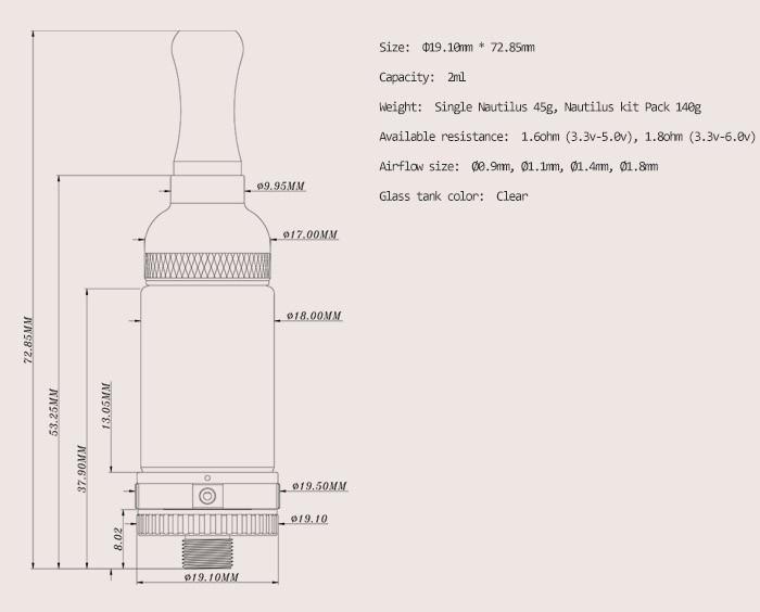 ถูก 20ชิ้น/ล็อตAspire NautilusมินิBVCเครื่องฉีดน้ำบุหรี่อิเล็กทรอนิกส์Clearomizer/เครื่องฉีดน้ำ2มิลลิลิตรNautilusถังผลิตภัณฑ์ใหม่สำหรับ2014
