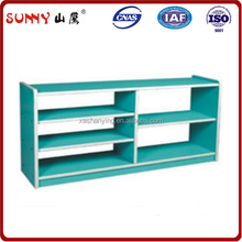 Green color child no back partition cabinet