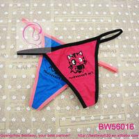 Wholesale about 0.1 USD cute micro single string panties soft cotton fabric g strings thong bikini panties