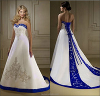 A Line Satin Sweetheart Sweetheart Beaded Lace-up Embroidery Royal Blue And White Wedding Dresses, Aliexpress Wedding Dresses