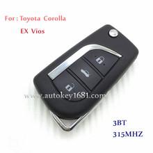 MS flip car key 3 button remote control key 315mhz for toyota corolla ex vios with uncut key blade