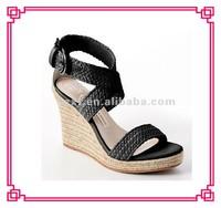 Fashion weave upper hemp rope wedge heel sandals