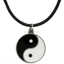Stainless steel main material Epoxy black and white ying yang necklace