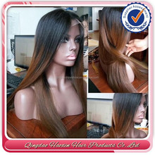 Top Grade Beauty Nice Wavy Brazilian Human Hair Ombre Full Lace Wig