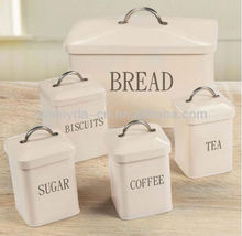 5 piece set including, tea, coffee, sugar, biscuits containers and bread bin