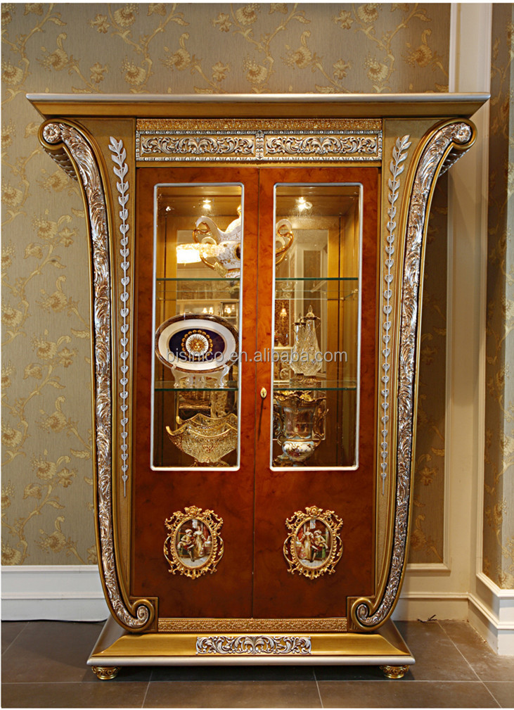 French Luxury Louis Xv Style Wooden Glass Mirrored Display Cabinet