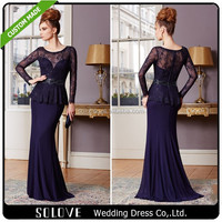 Two Pieces Lace Bodice Beaded Chiffon Royal Blue Mother Of The Bride Dresses