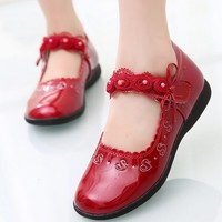 W91436A 2015 new fashion children shoes kids flower girls leather dress shoes