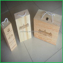 Durable Wine Glass Gift Box Wooden Wine Packaging With Handle