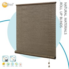 wood headrail natural material curtains roll up blinds