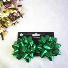 Warehouse Green Metallic Star Gift Ribbon Bows