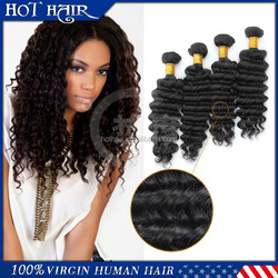 cheap 5A deep wave 100% unprocessed brazilian vrigin remy human hair weaving wholesale
