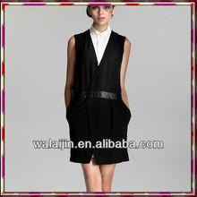 Sleeveless Elegant Lady Black Designer Wrap Dress