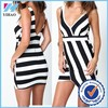 Yihao Trade Assurance 2015 Fashion Sexy ladies Striped Wrap Bodycon Dress