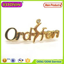Hottest sale shiny gold plating metal custom logo brooch #5918