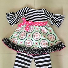 New design Kp-Y83 kids cheap china wholesale clothing with fancy floral print ruffles