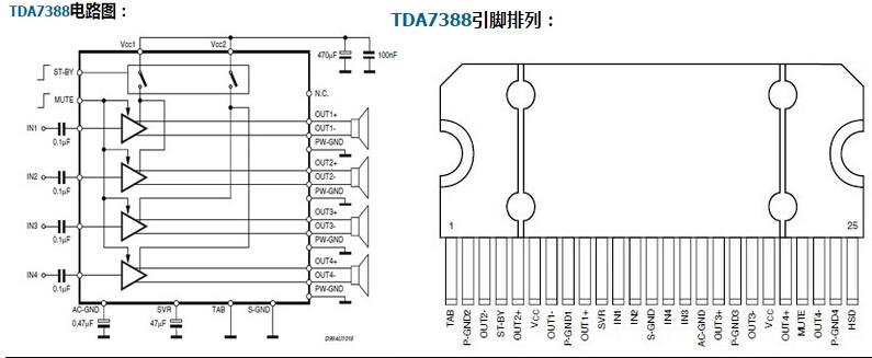 Tda 7388 схема подключения