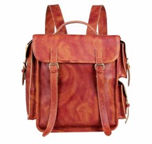 7238B Wholesale Vintage Leather 17 Inch Laptop Backpack